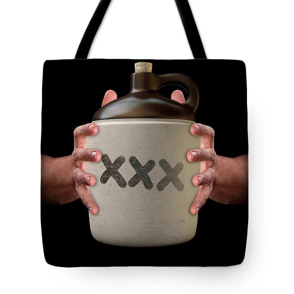 Hooch Tote Bag featuring the digital art Hands Holding Moonshine by Allan Swart