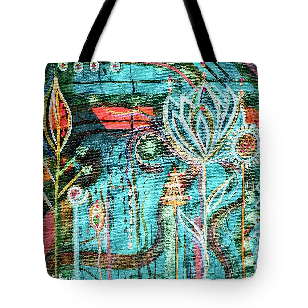 Intuitive Art Tote Bag featuring the painting Happy by Angel Fritz