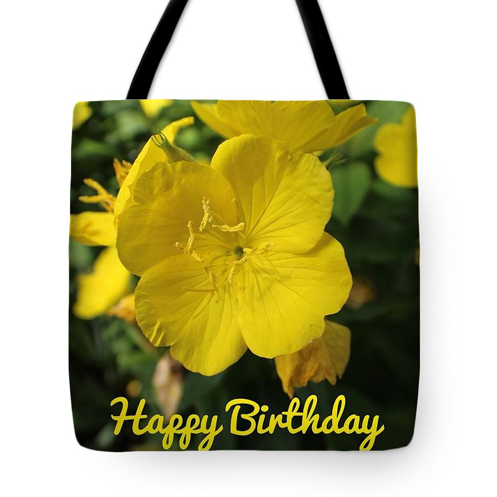 Happy Birthday. Yellow Tote Bag featuring the photograph Happy Birthday by Beth Tidd