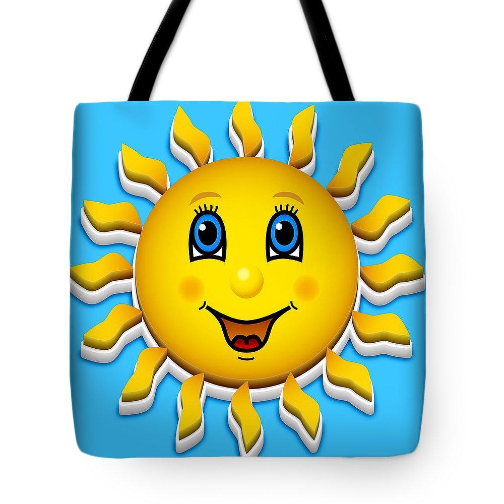 Happy Tote Bag featuring the digital art Happy Smiling Sun by Miroslav Nemecek