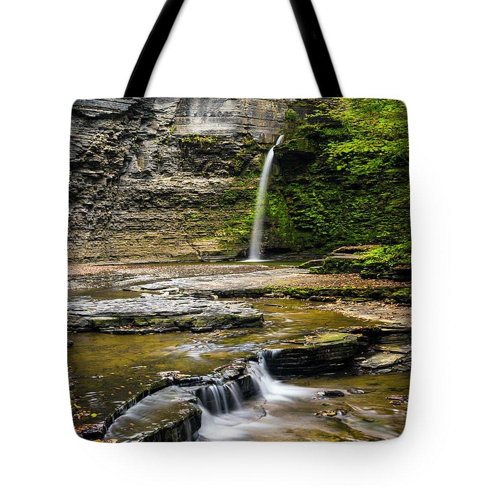 New York Tote Bag featuring the photograph Havana Glen's Eagle Falls by Karen Jorstad