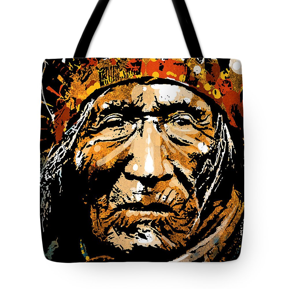 Native American Tote Bag featuring the painting He Dog by Paul Sachtleben