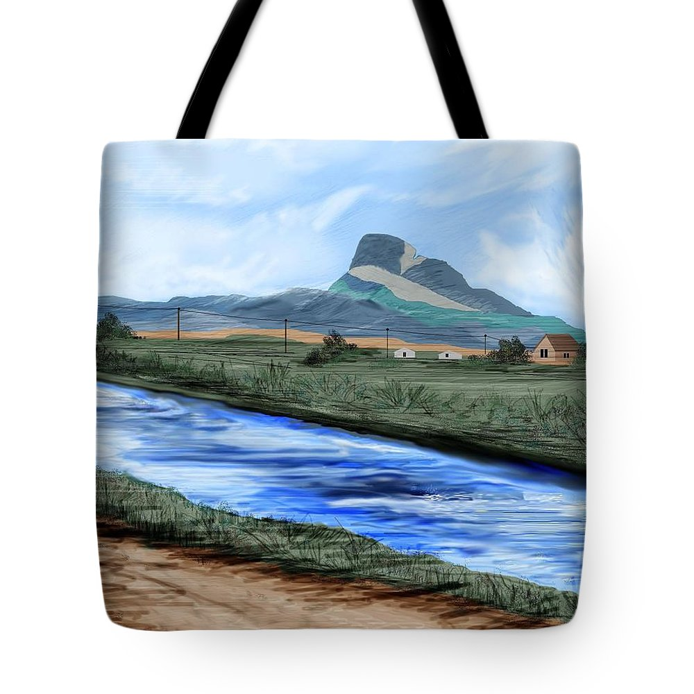 Heart Mountain Tote Bag featuring the painting Heart Mountain And The Canal by Anne Norskog