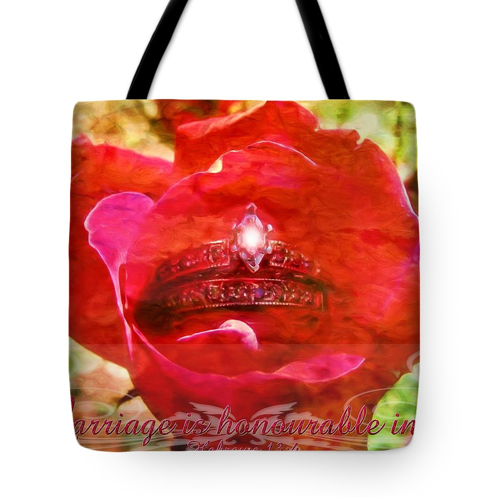 Jesus Tote Bag featuring the digital art Hebrews 13 4 by Michelle Greene Wheeler