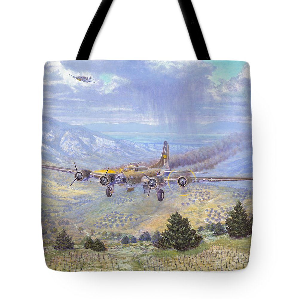 99th Bomb Group Tote Bag featuring the painting Her Majestys Last Landing by Scott Robertson