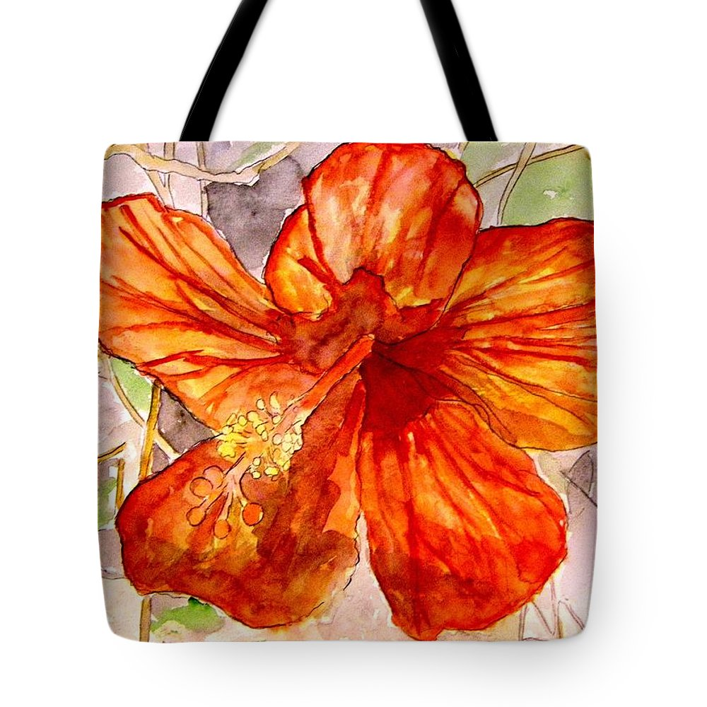 Hibiscus Tote Bag featuring the painting Hibiscus 2 by Derek Mccrea