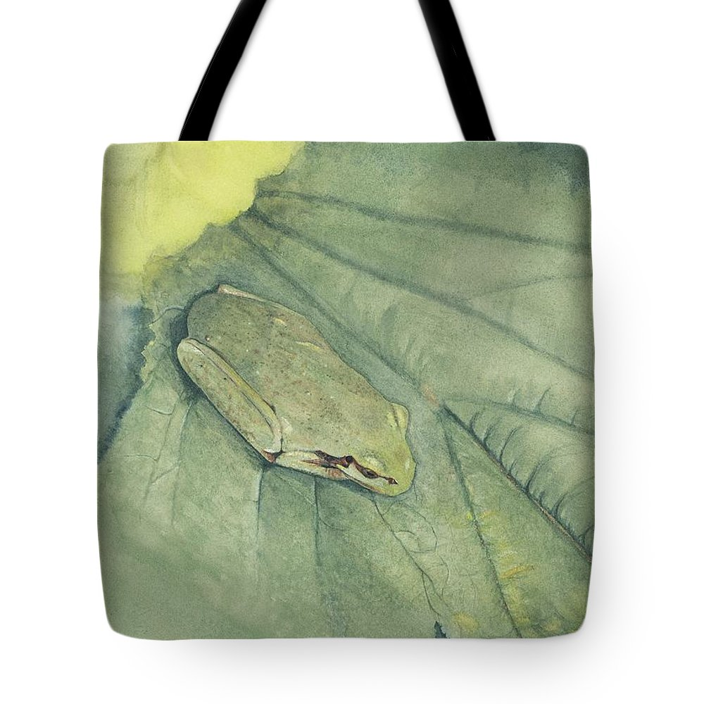 Frog Tote Bag featuring the painting Hidden by Mary Tuomi