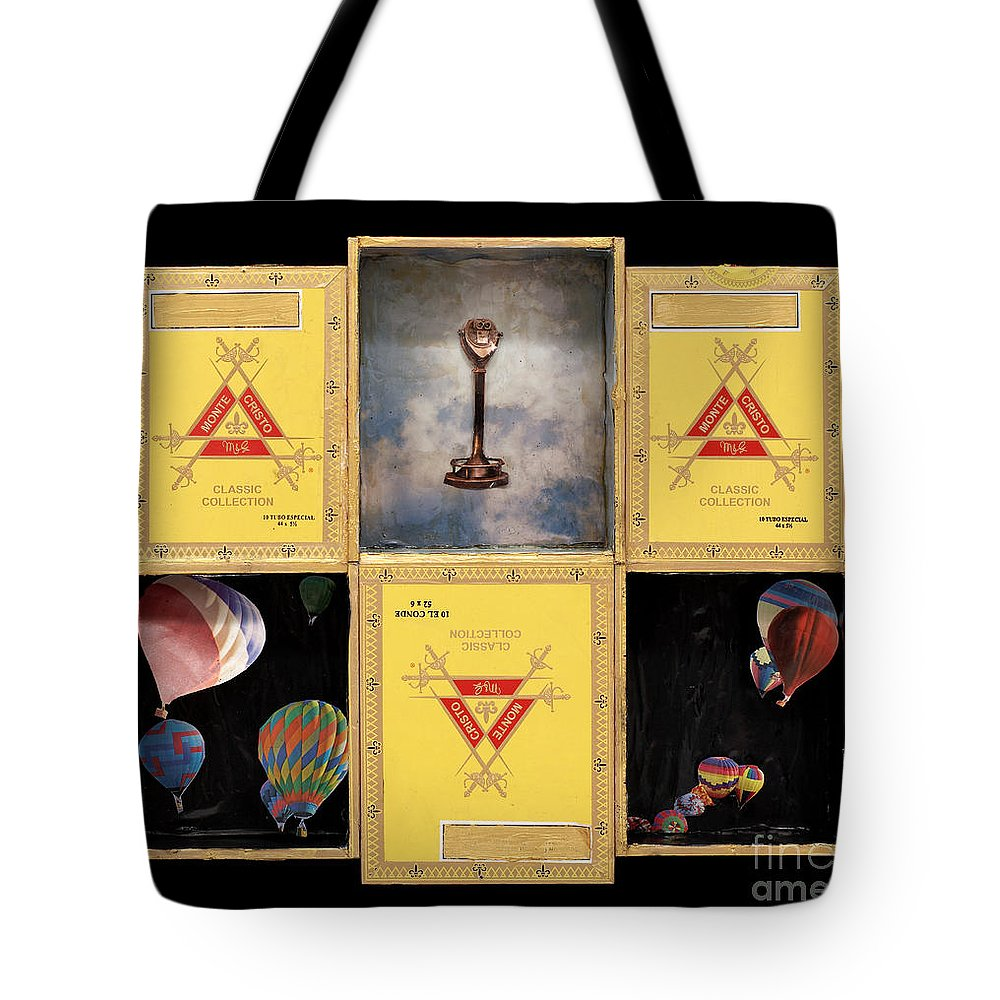 Cigar Boxes Tote Bag featuring the mixed media High by Jaime Becker