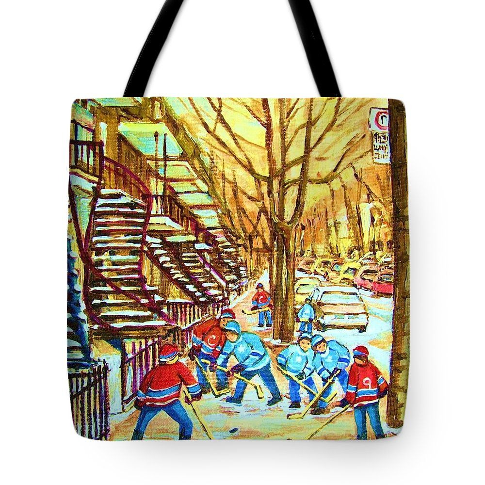 Montreal Tote Bag featuring the painting Hockey Game Near Winding Staircases by Carole Spandau