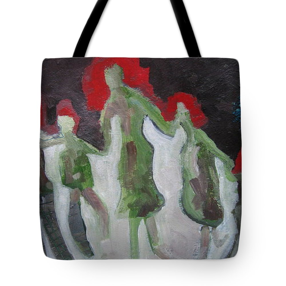 Abstract Paintings Tote Bag featuring the painting Holding Hands by Seon-Jeong Kim