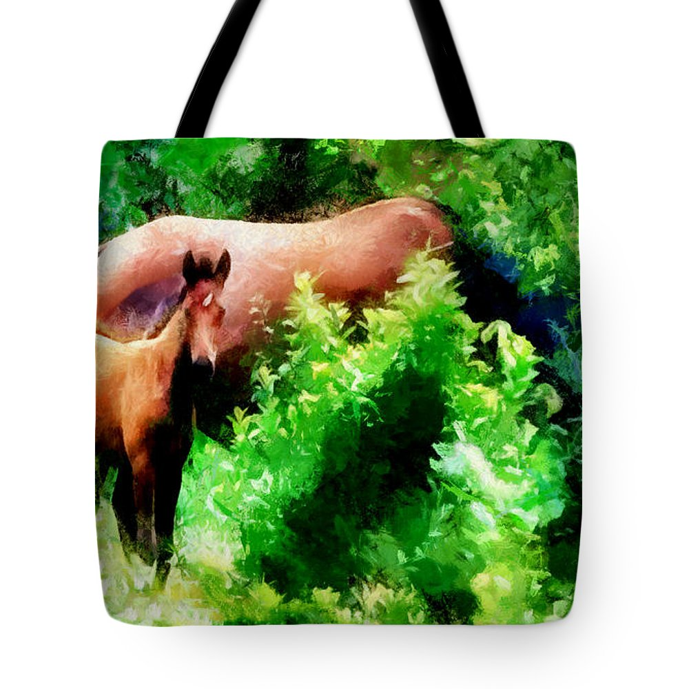 Horses Tote Bag featuring the photograph Horse Family by Galeria Trompiz