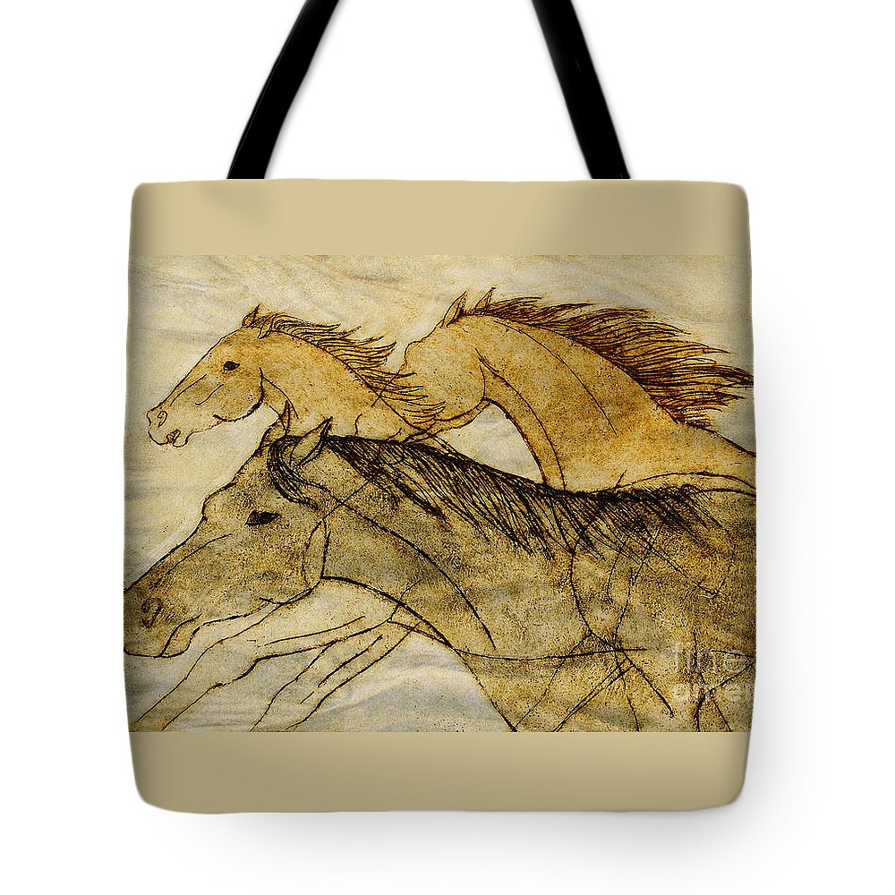 Horses Tote Bag featuring the drawing Horse Sketch by Nareeta Martin
