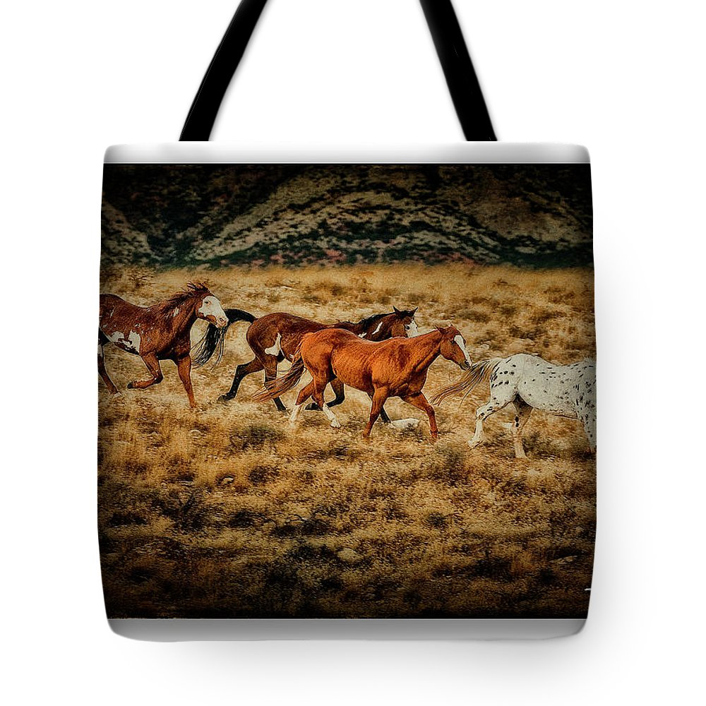 Horses Tote Bag featuring the photograph Horses 28 by Ingrid Smith-Johnsen