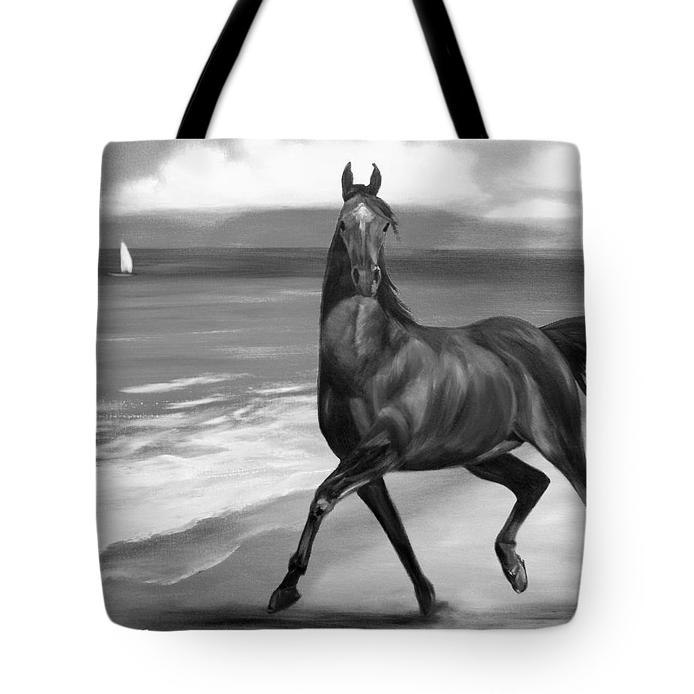Horses Tote Bag featuring the painting Horses In Paradise Dance by Gina De Gorna