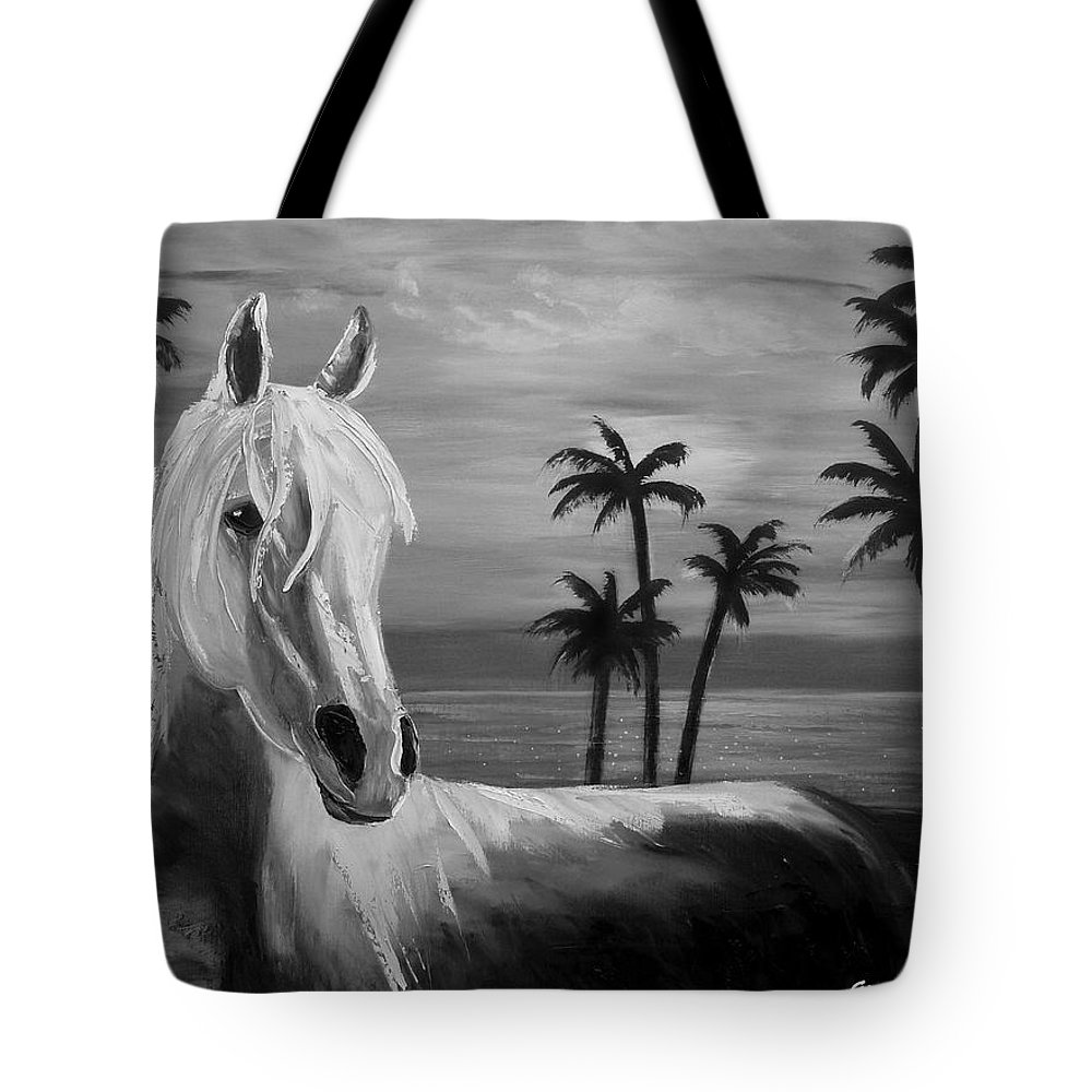 Horses Tote Bag featuring the painting Horses In Paradise Tell Me Your Dream by Gina De Gorna
