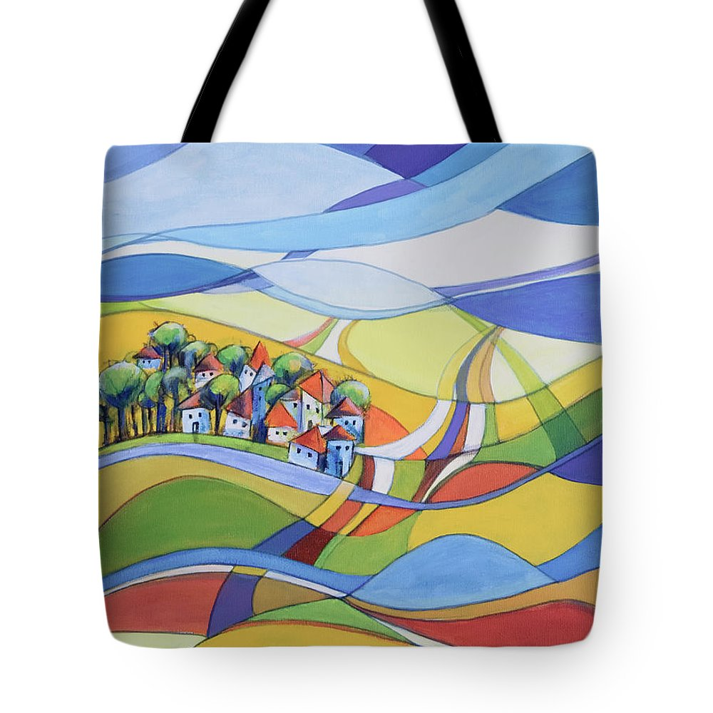 Landscape Tote Bag featuring the painting Houses along the river by Aniko Hencz