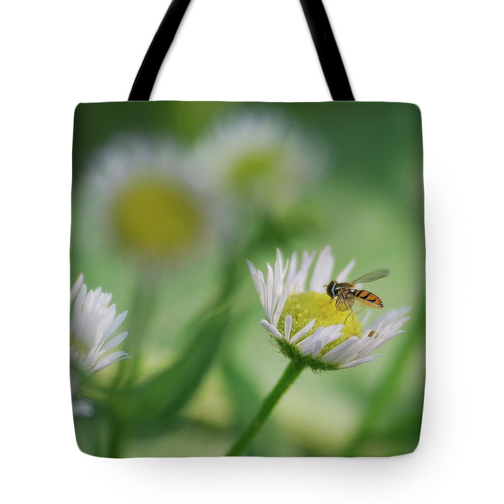 Hoverfly Tote Bag featuring the photograph Hoverfly by Michael Peychich