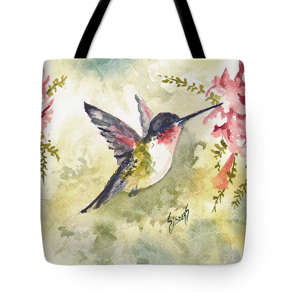 Hummingbird Tote Bag featuring the painting Hummingbird by Sam Sidders