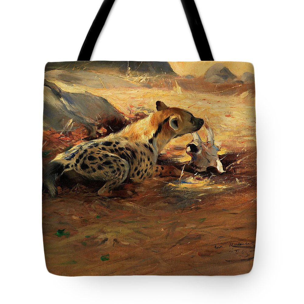 Hyenas Tote Bag featuring the painting Hyena by Friedrich Wilhelm Kuhnert