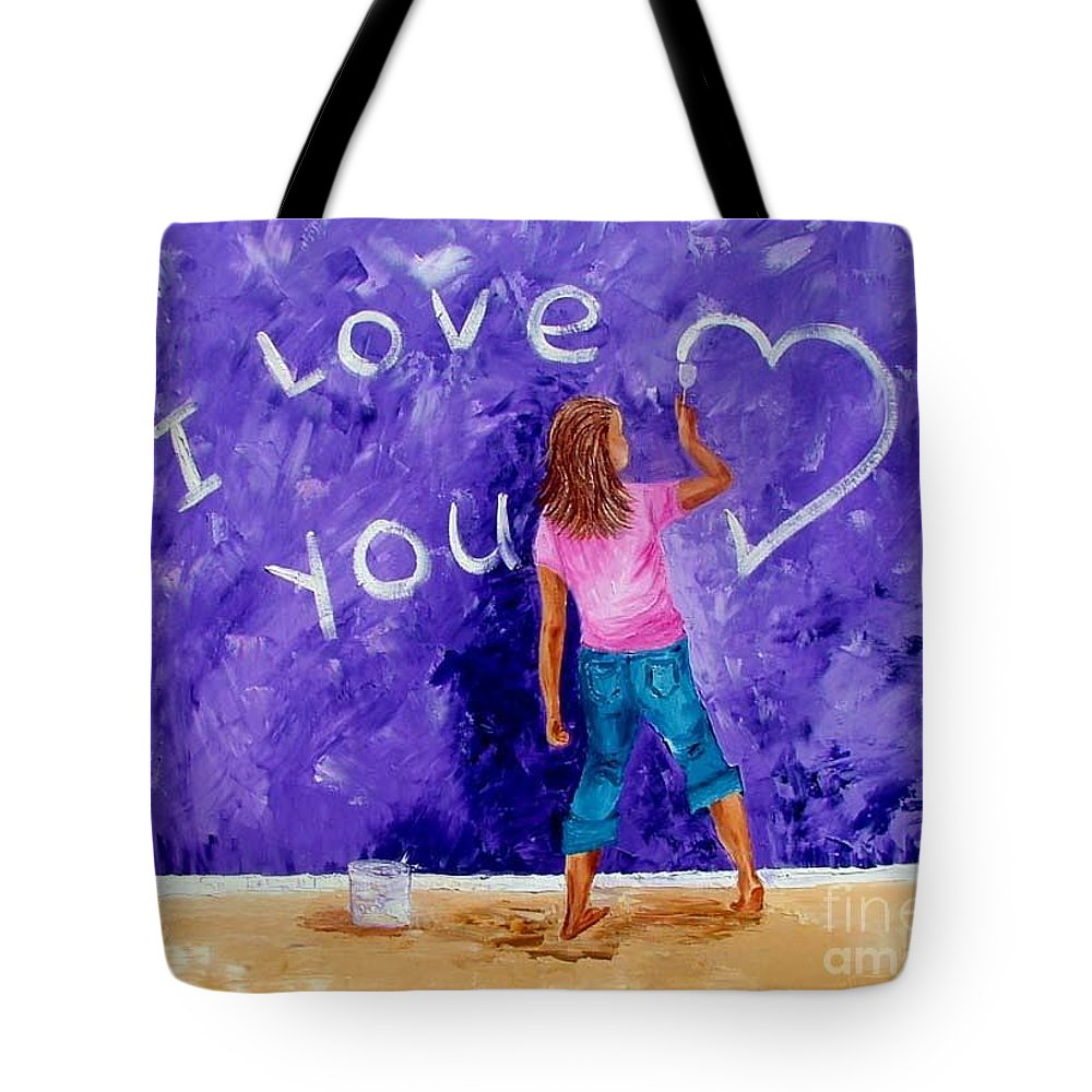 Girl Tote Bag featuring the painting I Love You by Inna Montano