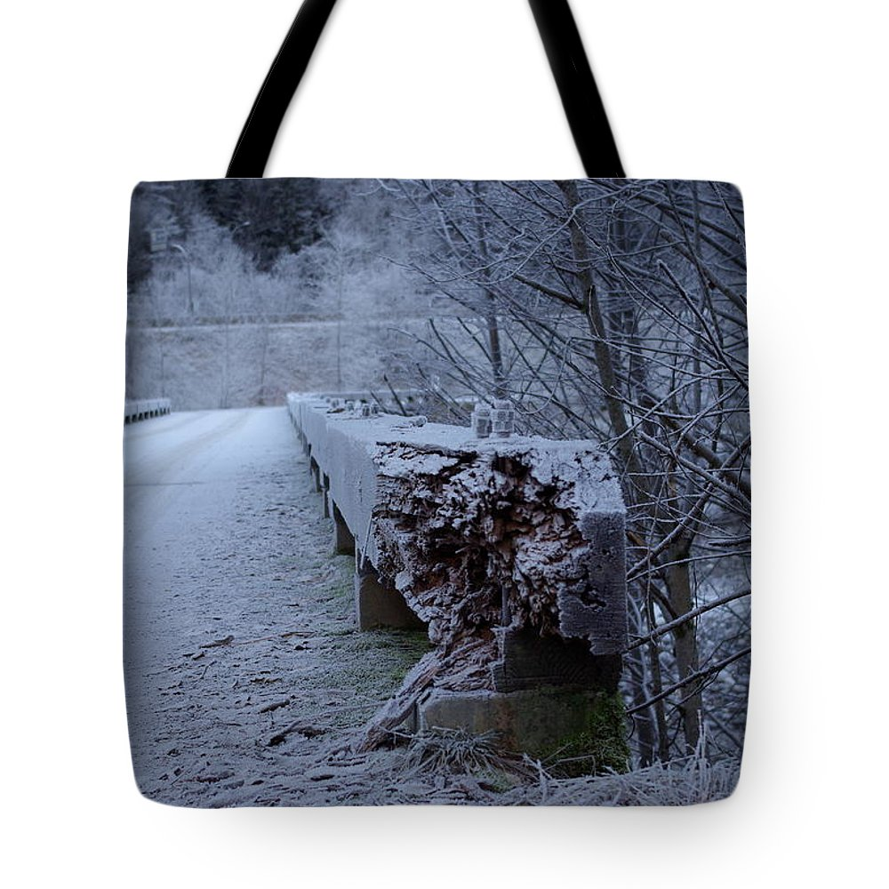 Ice Tote Bag featuring the photograph Ice Bridge by Cindy Johnston