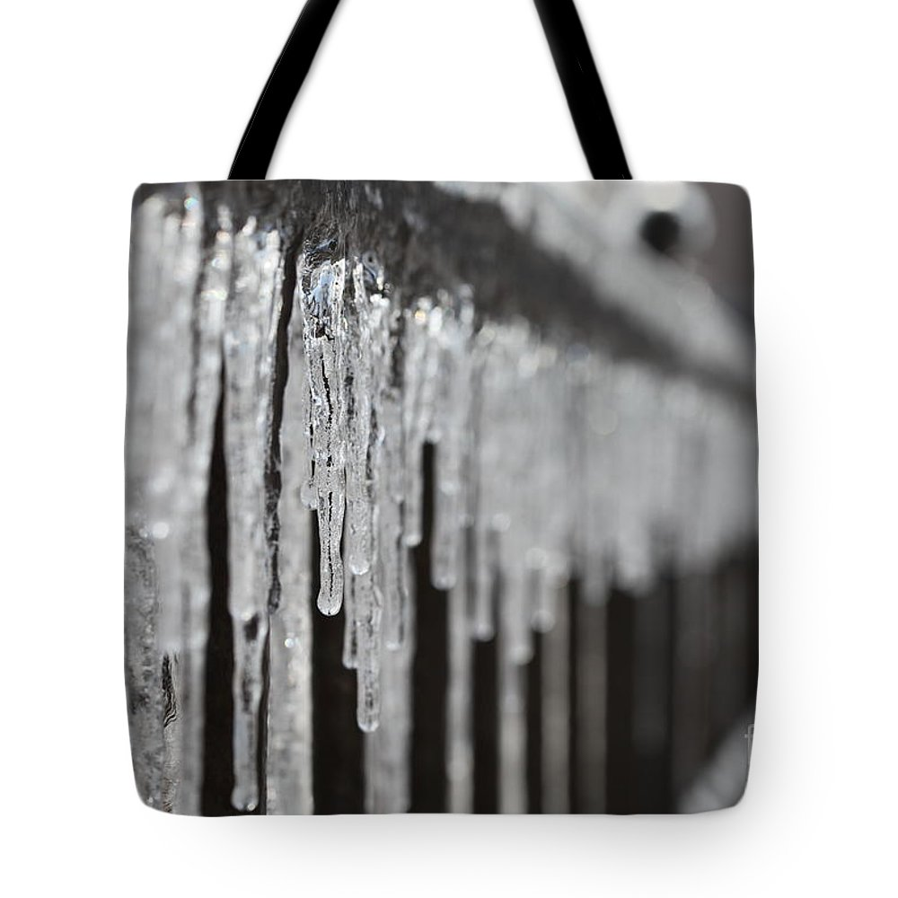 Icicles Tote Bag featuring the photograph Icicles At Attention by Nadine Rippelmeyer
