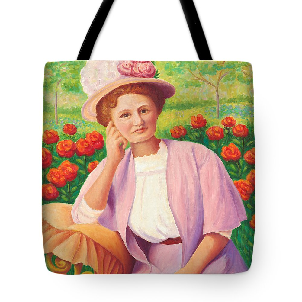 Portrait Tote Bag featuring the painting Ida In The Garden by Amy Vangsgard