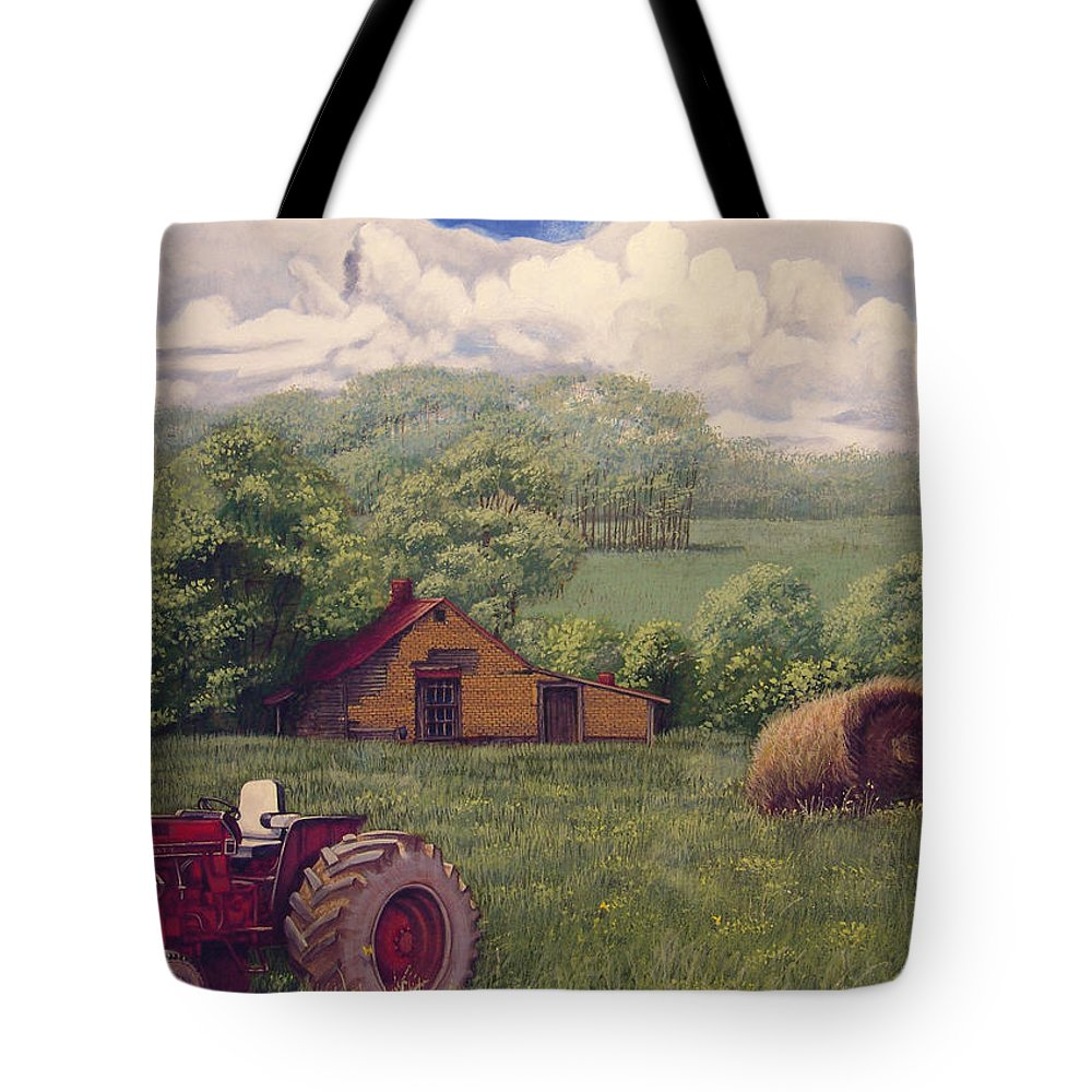 Landscape Tote Bag featuring the painting Idle In Godfrey Georgia by Peter Muzyka