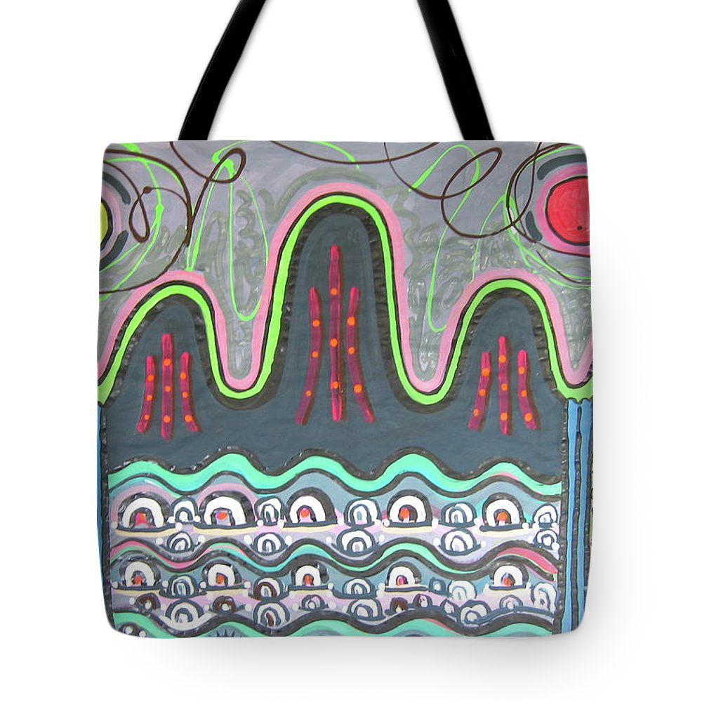 Sjkim Painting Tote Bag featuring the painting Ilwolobongdo Abstract Landscape Painting by Seon-jeong Kim