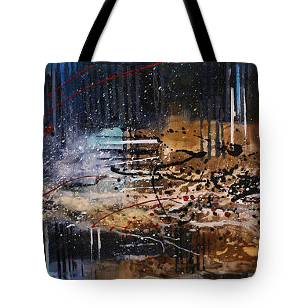 Abstract Fear Tragedy Point Of Impact Vanishing Point Chaos 911 Tote Bag featuring the painting Impact by Michael Lang