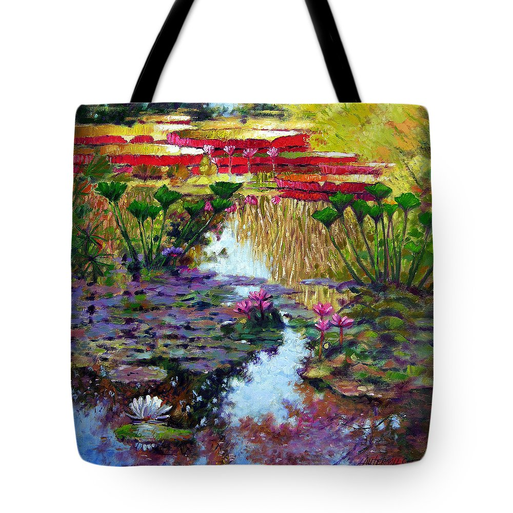 Garden Pond Tote Bag featuring the painting Impressions of Summer Colors by John Lautermilch