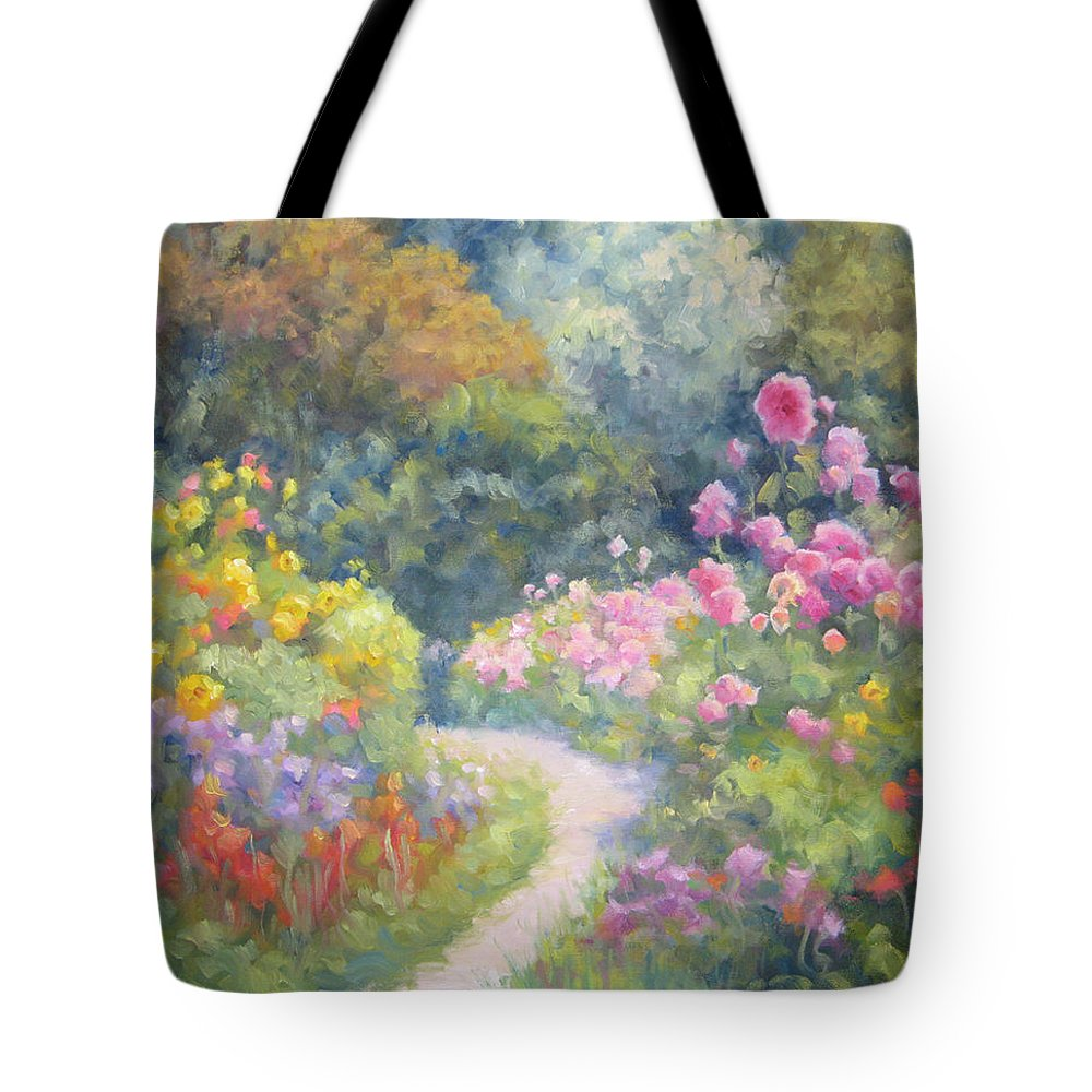 Garden Tote Bag featuring the painting In Monets Footsteps by Bunny Oliver
