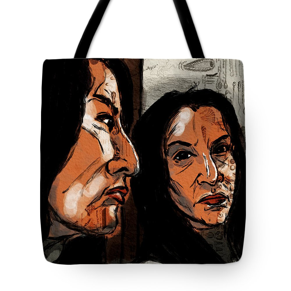 Portrait Tote Bag featuring the digital art In The Mirror by Michael Kallstrom