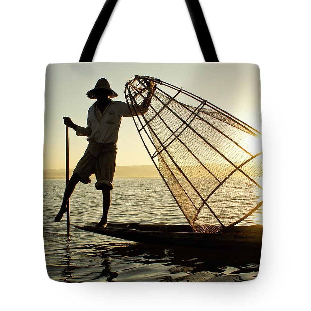 Asia Tote Bag featuring the photograph Inle Lake Fisherman by Michele Burgess