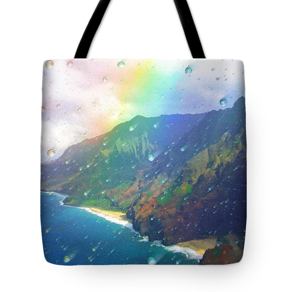 Rainbow Tote Bag featuring the painting Inside a Rainbow by Robby Donaghey