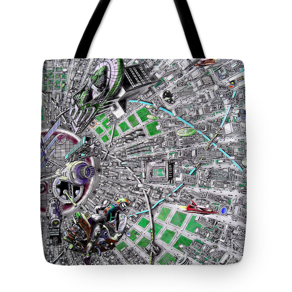 Landscape Tote Bag featuring the drawing Inside Orbital City by Murphy Elliott