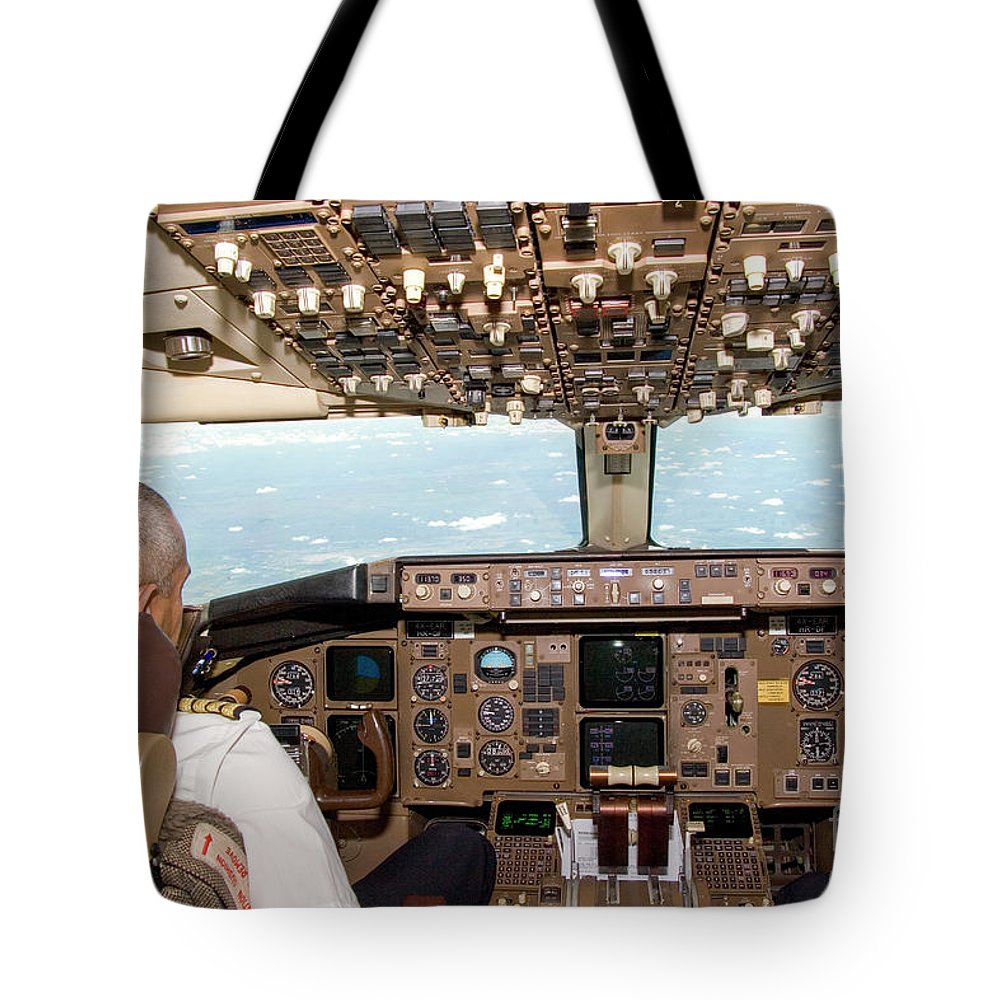 Interior Tote Bag featuring the photograph Interior Of A Boing 767 Cockpit by Ohad Shahar
