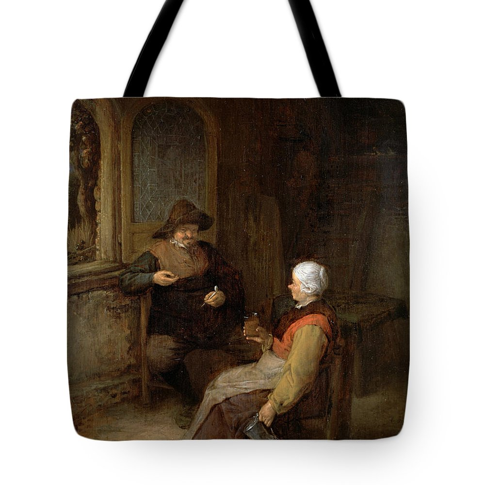 Adriaen Jansz Hendricx Tote Bag featuring the painting Interior Of A Cottage by Adriaen van Ostade