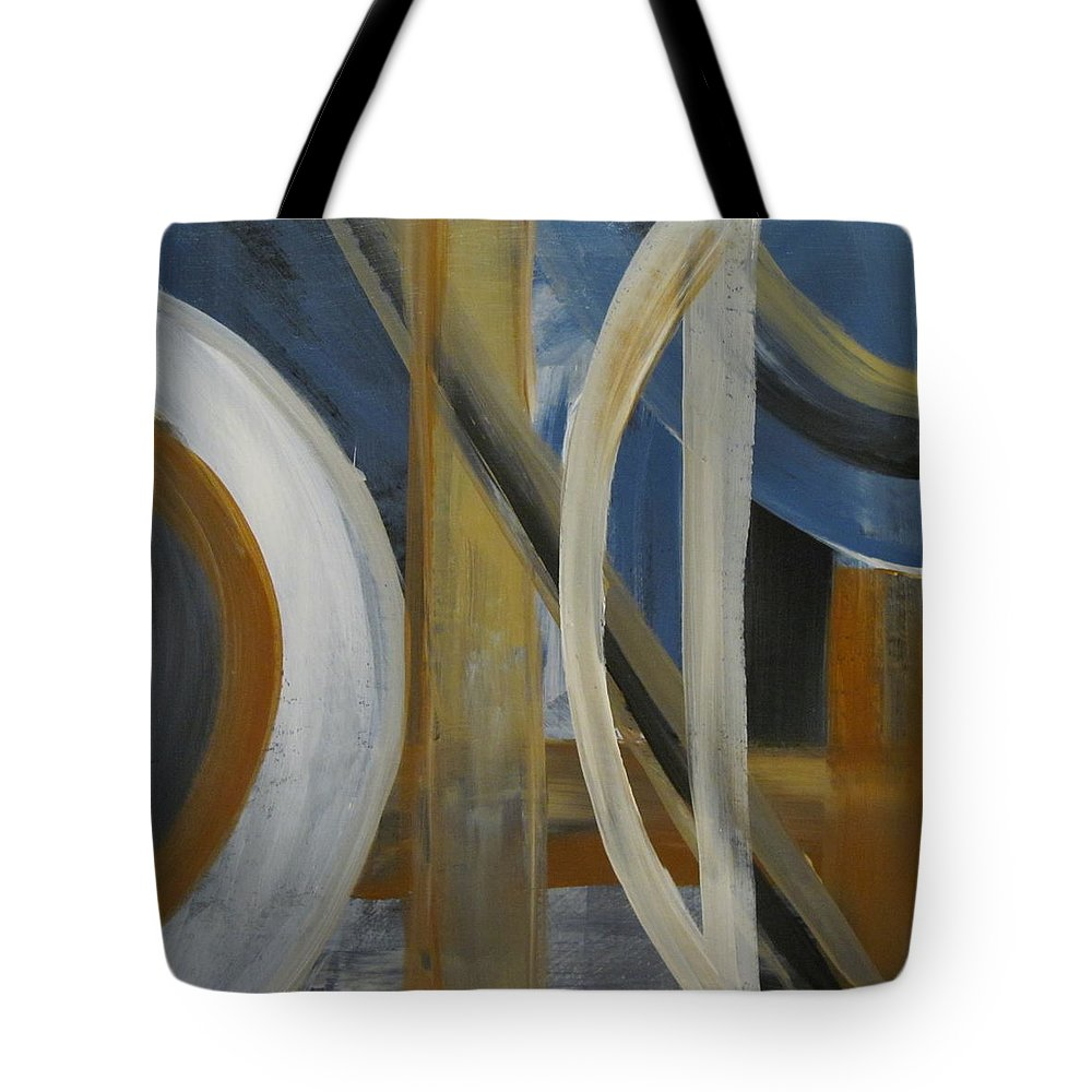 Abstract Tote Bag featuring the painting Intersection In Blue 1 by Anita Burgermeister
