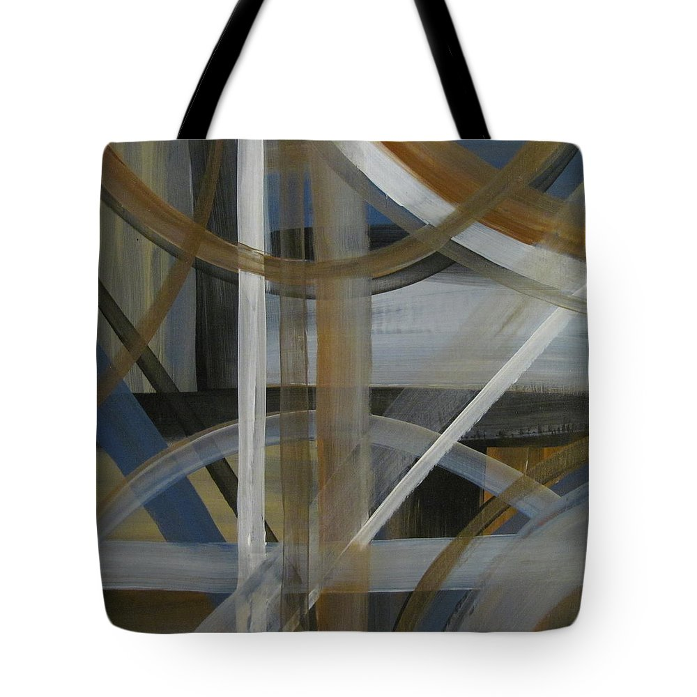 Abstract Tote Bag featuring the painting Intersection In Blue 4 by Anita Burgermeister