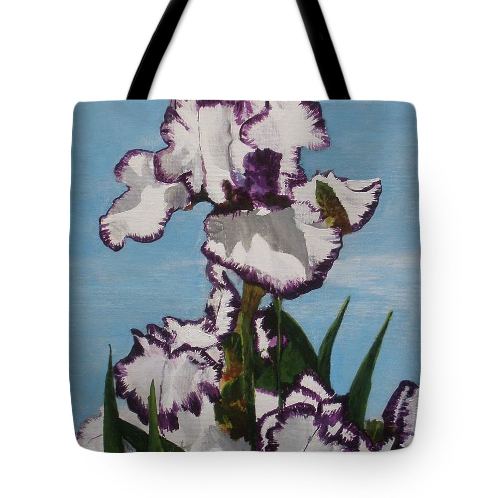 Floral Tote Bag featuring the painting Irises by Betty-Anne McDonald