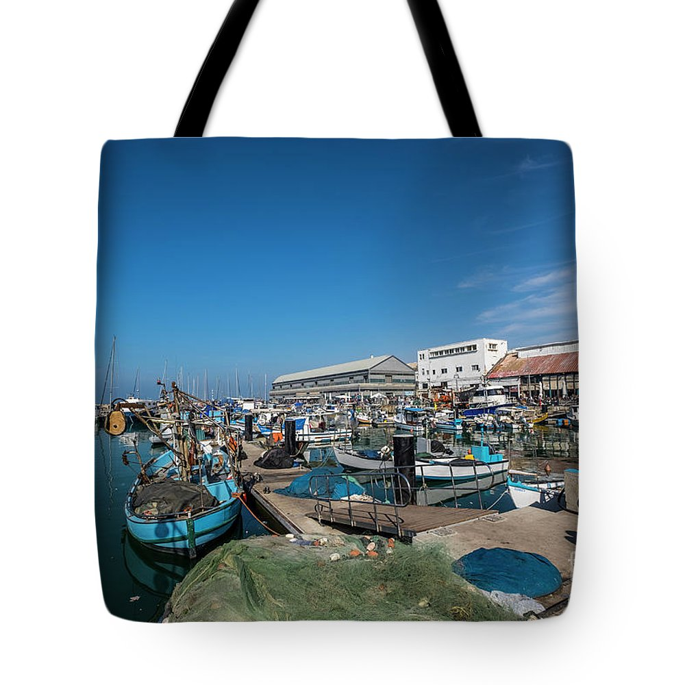 Israeli Tote Bag featuring the photograph Israel, Jaffa, The Ancient Port by Ofer Zilberstein