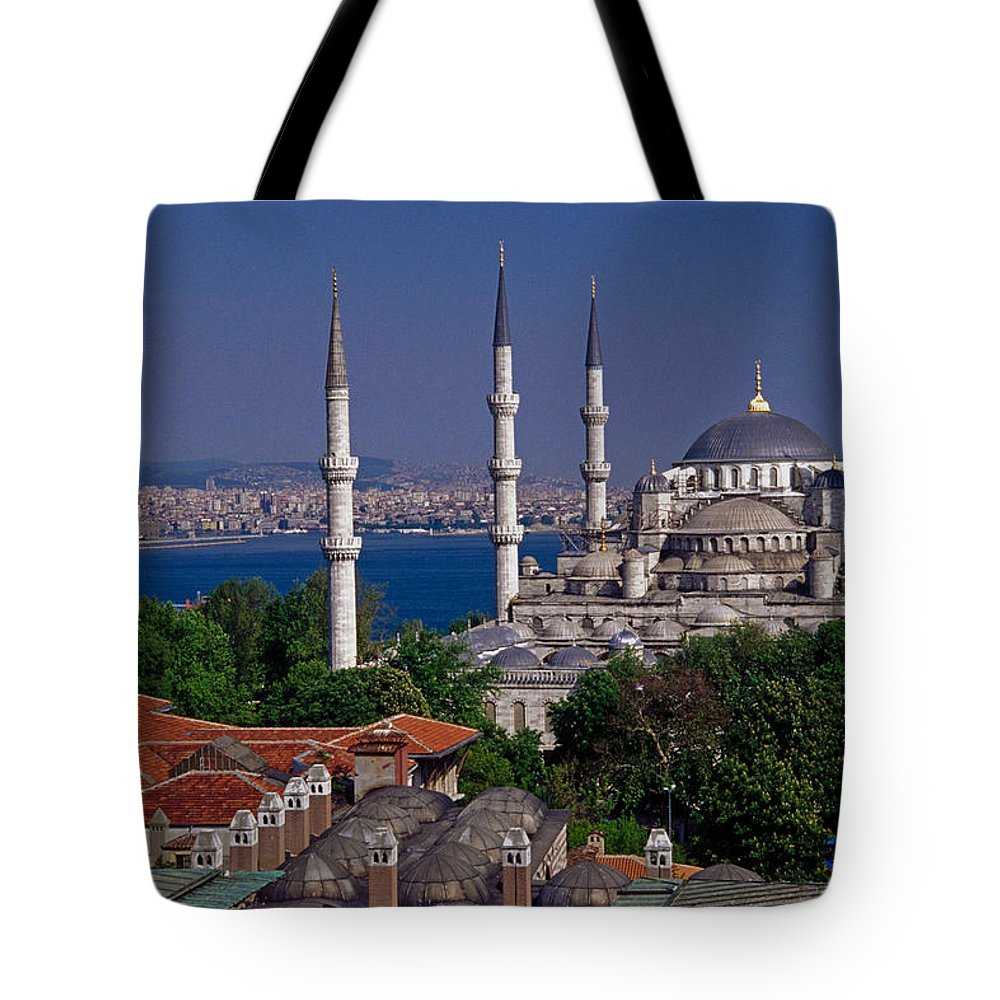 Turkey Tote Bag featuring the photograph Istanbul's Blue Mosque by Michele Burgess