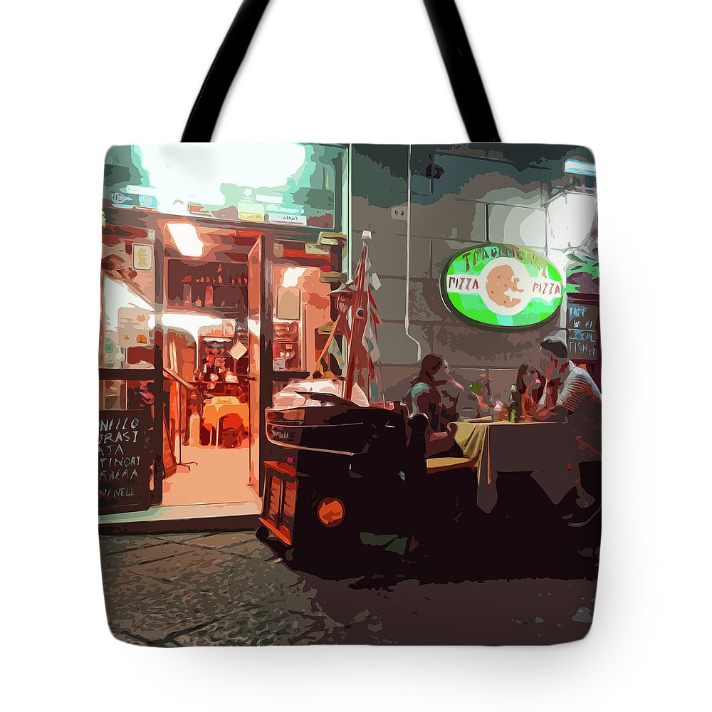 Italian Restaurant Tote Bag featuring the photograph Italian Restaurant At Night by James Hill