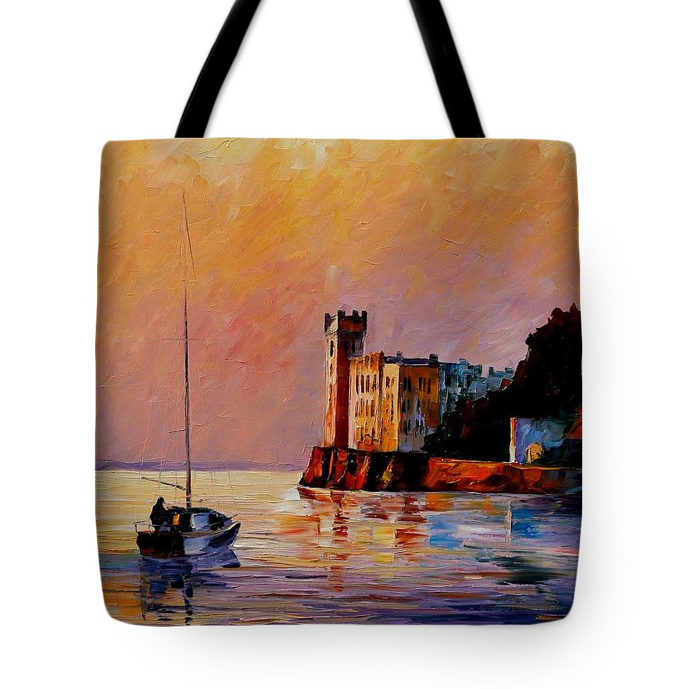 Afremov Tote Bag featuring the painting Italy - Trieste Gulf by Leonid Afremov