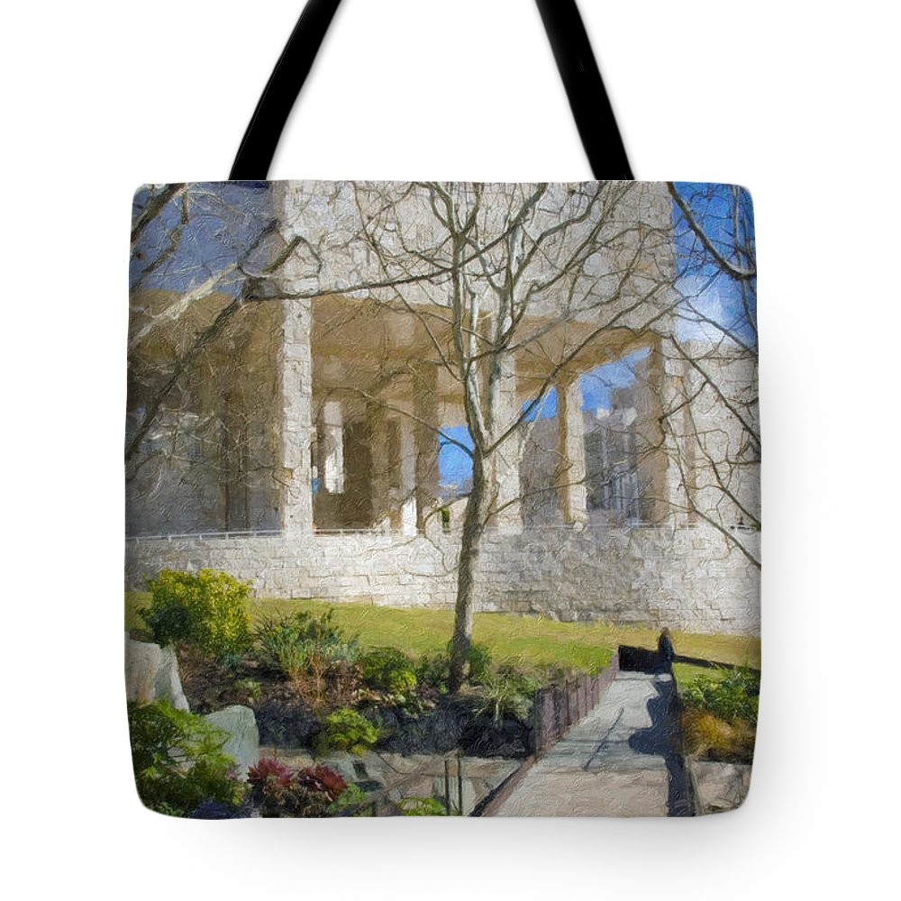 The Tote Bag featuring the photograph J Paul Getty Museum Garden Terrace by David Zanzinger
