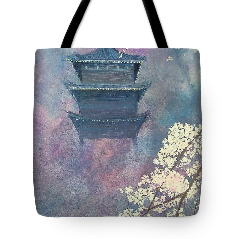 Landscape Japan Tote Bag featuring the painting Japanese Spring Scene by Lizzy Forrester