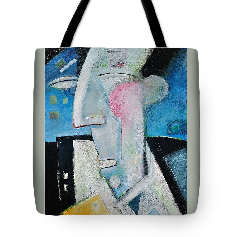 Jazz Tote Bag featuring the painting Jazz Face by Tim Nyberg