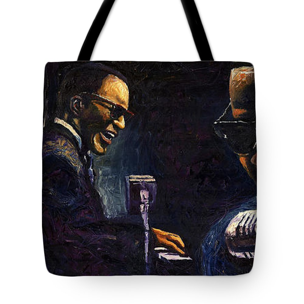Jazz Tote Bag featuring the painting Jazz Ray Charles by Yuriy Shevchuk