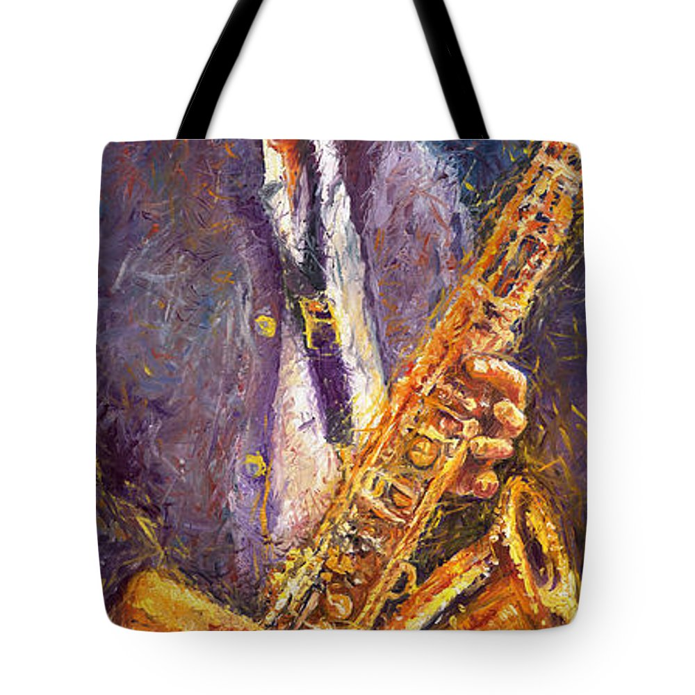 Jazz Tote Bag featuring the painting Jazz Saxophonist by Yuriy Shevchuk